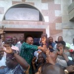 Governor Olusegun Mimiko jubilating after his victory was upheld