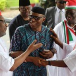 Ondo State Governor Olusegun mimiko exchanging banters with Jonathan and Mu'azu